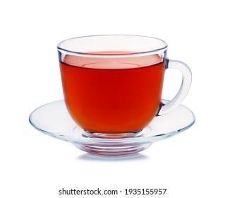 Mug with tea isolated on white background