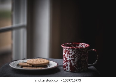A mug of tea with a small plate of cookies in the late afternoon.