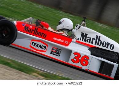 Mugello Circuit 1 April 2007: Unknown run on Classic F1 Car 1976 McLaren M23 ex James Hunt on Mugello Circuit in Italy during Mugello Historic Festival.