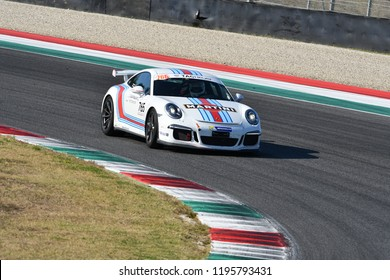 Mugello Circuit, Italy - 29 September 2018: Unknown run with Porsche 911 GT3 in Mugello Circuit during Porsche Sport Suisse Club event 2018 in Italy.