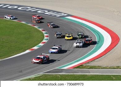 Mugello Circuit, Italy - 7 October, 2017: Start Race #1 Final Round of C.I. Gran Turismo Super GT3-GT3 in Mugello Circuit.