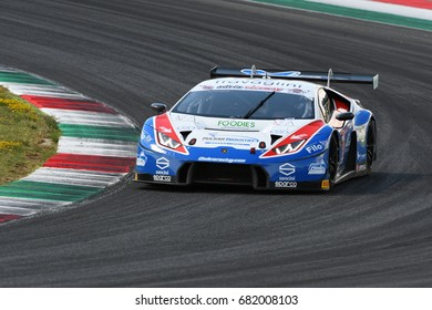 Mugello Circuit, Italy - July 15, 2017: Lamborghini Huracan GT3S Ombra S. Team driven by BERETTA Michele - FRASSINETI Alex, Campionato Italiano GT in Mugello Circuit.
