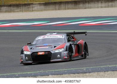 Mugello Circuit, Italy - July 17, 2016: AUDI R8 LMS GT3 - Super GT3 of Audi Sport Italia Team driven by F. Albuquerque and M. Mapelli, Campionato Italiano GT in Mugello Circuit