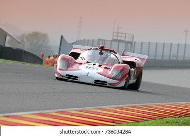 MUGELLO, IT, November 2008: unknown run with 1970 Historic Prototype Ferrari 512S into the Mugello Circuit during Finali Mondiali Ferrari 2008 in Mugello, italy
