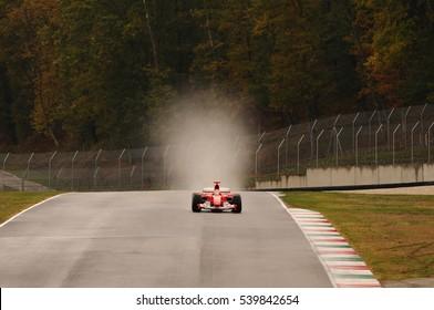 MUGELLO, IT, November, 2011:unknown run with Historic Ferrari F1 during Finali Mondiali Ferrari 2011 into the mugello circuit in italy