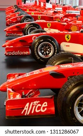 MUGELLO, IT, October 2017: detail of modern Ferrari F1 of the 2000s on display at the Mugello circuit in Italy during Finali Mondiali Ferrari 2017. Italy.