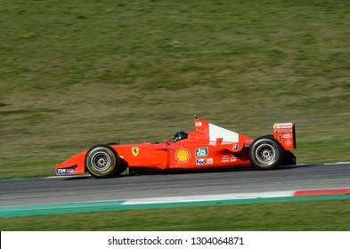 MUGELLO, IT, October 2017: Ferrari F1 2002 ex Michael Schumacher in action at Mugello Circuit in italy during Finali Mondiali Ferrari 2017. Italy