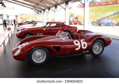 MUGELLO, IT, October, 2017: Vintage Ferrari 500 TRC 1957 at Paddock Show of Ferrari Anniversary 1947-2017 in Mugello Circuit at Finali Mondiali Ferrari 2017. Italy