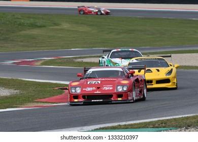 MUGELLO, IT, October, 2017: Vintage Ferrari F40 GT in action at the Mugello Circuit during Finali Mondiali Ferrari 2017. italy.