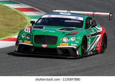 MUGELLO, ITALY - 13 July 2018: Nicola Larini and Alex Caffi run with Bentley Continental GT3 of Petri Corse Motorsport Team during GT Italian Championship 2018 at Mugello Circuit in Italy.