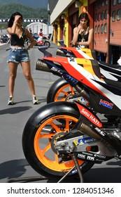 MUGELLO - ITALY, 2 JUNE: Detail of Honda RC213V 2018 of Repsol Honda Team - in the Pit Lane at 2018 GP of Italy in Mugello Circuit. Italy.