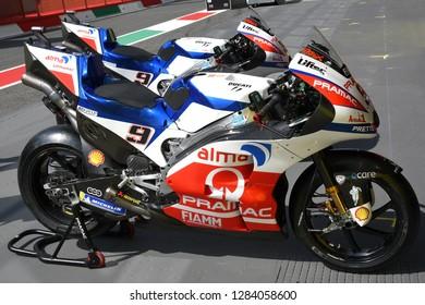 Mugello - ITALY, 2 JUNE: Detail of Ducati Desmosedici GP 18 of Ducati Alma Pramac Team in the Pit Lane at 2018 GP of Italy in Mugello Circuit.
