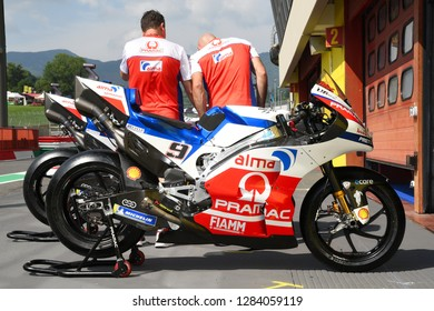 Mugello - ITALY, 2 JUNE: Mechanics work on Ducati Desmosedici GP 18 of Ducati Alma Pramac Team in the Pit Lane at 2018 GP of Italy in Mugello Circuit. Italy.