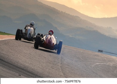 MUGELLO, ITALY - 2008: Unknown run with Vintage Maserati and Ferrari Grand Prix Cars on Mugello Circuit at the Event of Ferrari Racing Days Year 2008, Italy