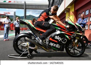 Mugello - Italy, 31 May 2019 Aprilia RS-GP of Racing Team Gresini of rider Andrea Iannone in the pitlane during the Italian GP in 2019 in Italy