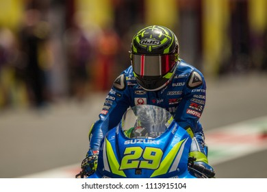 MUGELLO - ITALY, JUNE 1: Italian Suzuki rider Andrea Iannone at Oakley MotoGP of Italy at Mugello circuit on June 1, 2018