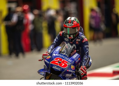 MUGELLO - ITALY, JUNE 1: Spanish Yamaha rider Maverick Vinales at Oakley MotoGP of Italy at Mugello circuit on June 1, 2018
