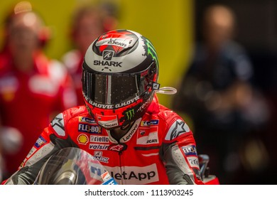 MUGELLO - ITALY, JUNE 1: Spanish Ducati rider Jorge Lorenzo wins at Oakley MotoGP of Italy at Mugello circuit on June 1, 2018