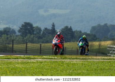 MUGELLO - ITALY, JUNE 2: Italian Ducati rider Andrea Dovizioso at Oakley MotoGP of Italy at Mugello circuit on June 2, 2018