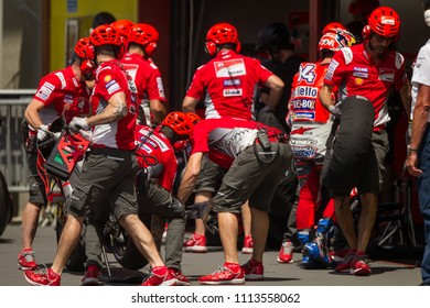 MUGELLO - ITALY, JUNE 2: Italian Ducati rider during pit stop at Oakley MotoGP of Italy at Mugello circuit on June 2, 2018