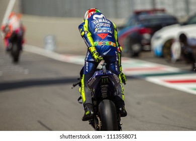 MUGELLO - ITALY, JUNE 2: Italian Yamaha rider Valentino Rossi at Oakley MotoGP of Italy at Mugello circuit on June 2, 2018