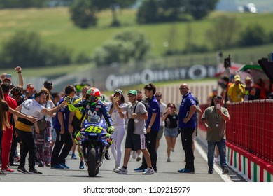 MUGELLO - ITALY, JUNE3: Italian Yamaha rider Valentino Rossi at Oakley MotoGP of Italy at Mugello circuit on June 3, 2018