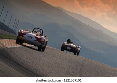 MUGELLO, ITALY November 2008: Unknown run with Vintage Maserati and Ferrari Grand Prix Cars on Mugello Circuit at the Event of Ferrari Racing Days Year 2008, Italy