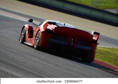 MUGELLO, ITALY - OCTOBER 26, 2017: Unknown run with Ferrari FXX-K during Finali Mondiali Ferrrari 2017 - XX Programmes in Mugello Circuit.