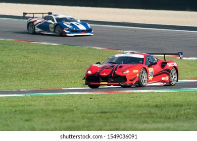 Mugello, Italy - October 27, 2019: A Ferrari 488 Challenge of Ferrari of Ferrari Westlake Team, driven by Eric MARSTON, during race at the COPPA SHELL AM in Mugello Circuit.