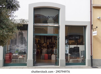 MUGELLO, ITALY - SEPTEMBER 11, 2014: Facade of Samsonite store in McArthurGlen Designer Outlet Barberino near Florence. Samsonite is a global luggage manufacturer and retailer founded 1910 in USA.