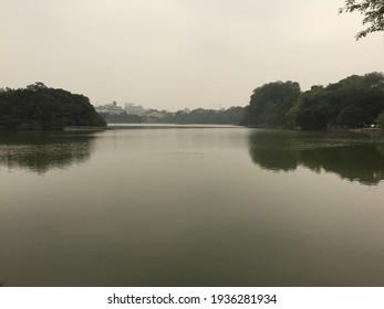 Muggy lake in Asian city