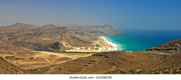 Mughsail - Salalah coast. South Oman – Dhofar province.  700 meter cliff. Arabian Peninsula