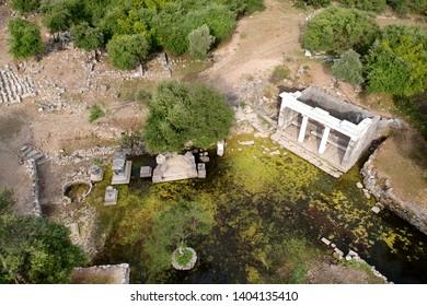 Mugla, Dalyan May 2019 Ancient city of Kaunos. The citadel is full of ancient ruins.