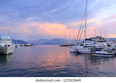Mugla, Marmaris, Turkey - May 22, 2017: Marmaris Marina. In Turkey's Mediterranean coast, in the famous resort of Marmaris with its natural beauties there is a sizeable marina. A view at sunset.