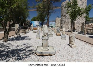 MUGLA, TURKEY - AUGUST 13, 2020: Sculpture in Bodrum Castle, Mugla City, Turkey