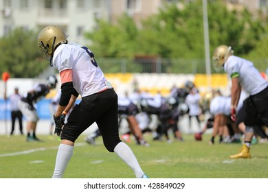 Mugla, Turkey - May 05, 2016 : American football players are playing during the Unilig University summer competitions on May 05, 2016 in Mugla, Turkey.