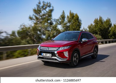 Mugla/Turkey - April 17 2018 : Mitsubishi Eclipse Cross is a compact crossover SUV produced by Japanese automaker Mitsubishi Motors.