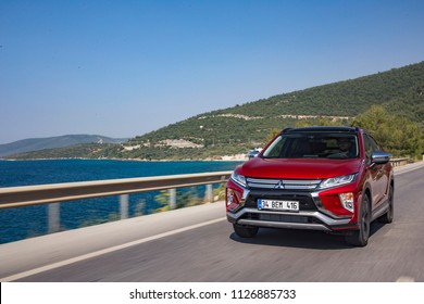 Mugla/Turkey - April 17 2018 : Mitsubishi Eclipse Cross is a compact crossover SUV produced by Japanese automaker Mitsubishi Motors.
