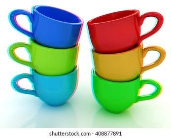 mugs on a white background. 3D illustration. Anaglyph. View with red/cyan glasses to see in 3D.