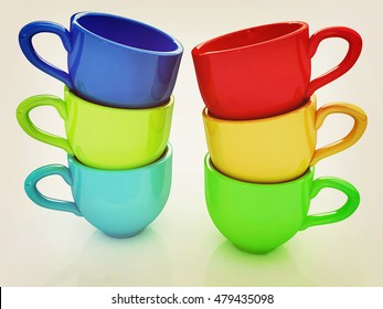 mugs on a white background. 3D illustration. Vintage style.