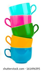 mugs of various colors