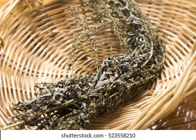 Mugwort (Artemisia vulgaris) tree and flowers (dried).
