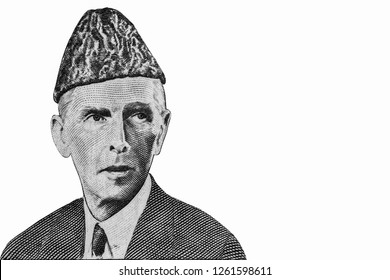 Muhammad Ali Jinnah Portrait from Pakistan 10 Rupee Banknotes. An Old paper banknote, vintage retro. Famous ancient Banknotes. Collection.