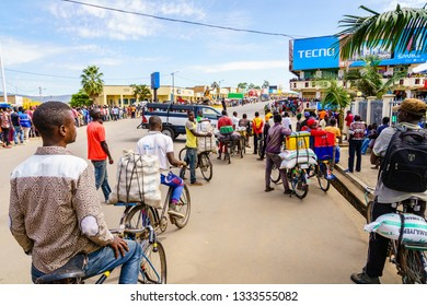 Muhanga, Rwanda, February 26, 2019: People are gathered to watch Tour Du Rwanda cycling race in the city of Muhanga, Rwanda