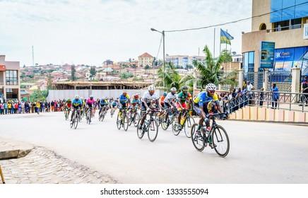 Muhanga, Rwanda, February 26, 2019: Stage 3 of Tour Du Rwanda cycling race in the city of Muhanga, Rwanda