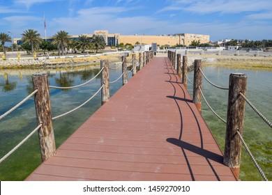 Muharraq, Bahrain - February 14 2019: Embankment. Buildings and streets of Muharraq town in Bahrain. Old capital city