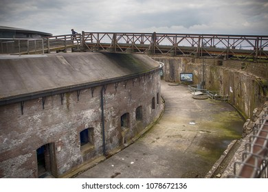 Muiden , Holland - 14 April 2018 Forteiland Pampus or Fort Pampus Island, artificial island in the IJmeer, Province of North-Holland, Netherlands