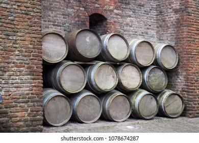 Muiden , Holland - 14 April 2018 The castle Muiderslot in village Muiden near Amsterdam in Holland, Netherlands, Europe. Medieval barrels