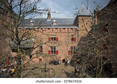 Muiden , Holland - 14 April 2018 The castle Muiderslot in the village Muiden near Amsterdam in Holland, the Netherlands, Europe