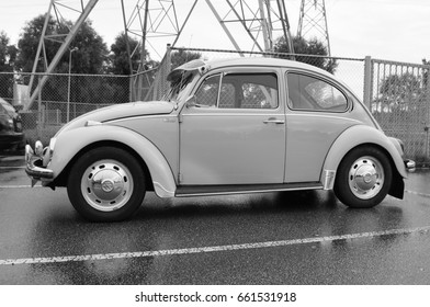 Muiden, The Netherlands - August 9, 2016: Volkswagen Type 1 parked on a public parking lot in the city of Muiden. Nobody in the vehicle. The VW T1 is also known as Beetle, Bug.